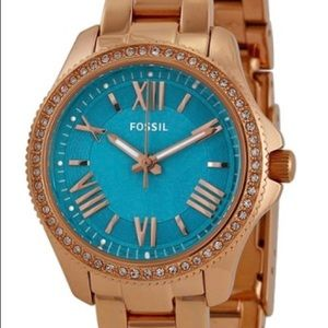 Gold/Turquoise Fossil Watch